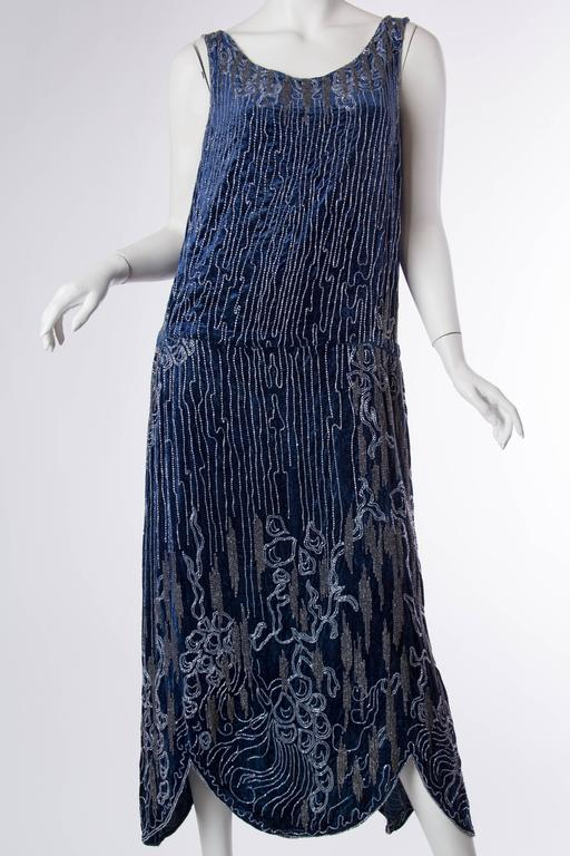 1920s Silk Velvet Dress Beaded with Erté Stylized Wisteria  2