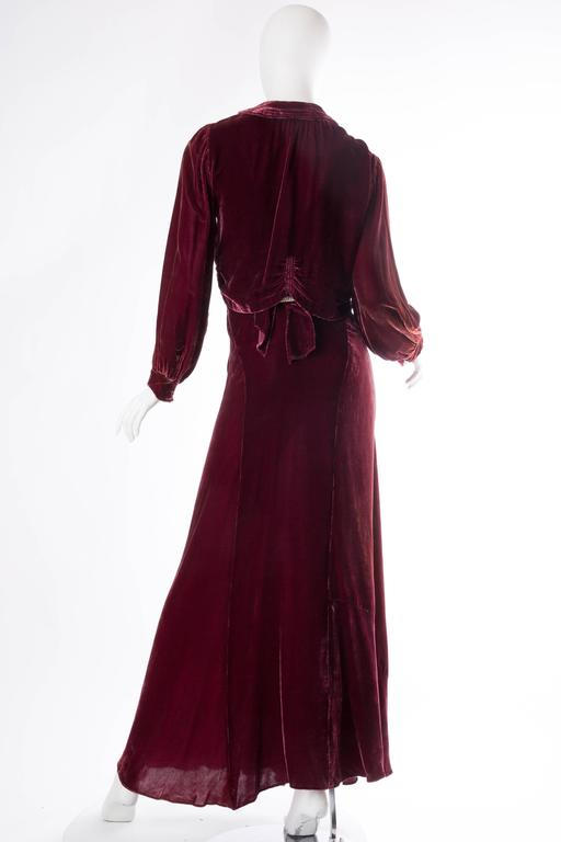 Backless Silk Velvet Gown from the 1930s with Matching Jacket 4