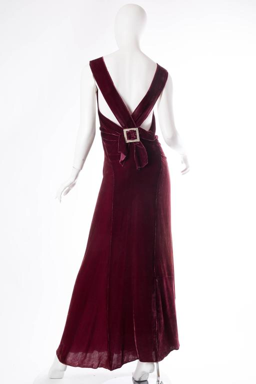 Backless Silk Velvet Gown from the 1930s with Matching Jacket 6