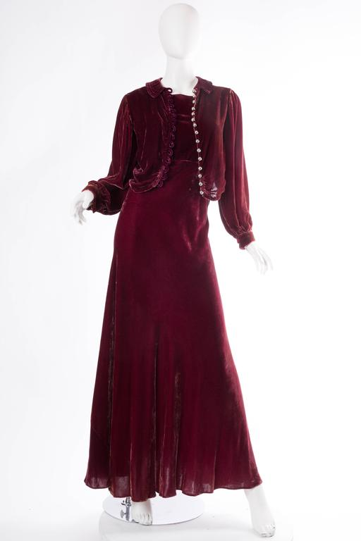Backless Silk Velvet Gown from the 1930s with Matching Jacket 2