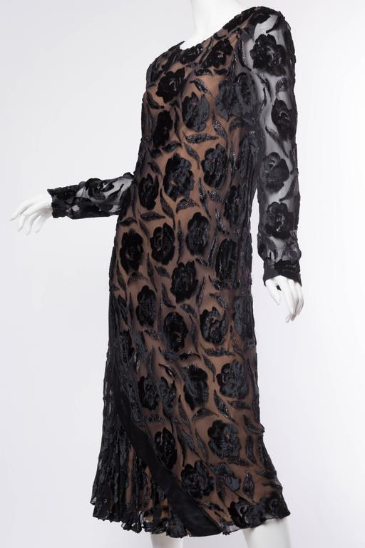 Women's Late 1970s Stavropoulos Velvet and Lurex Burnout Dress For Sale