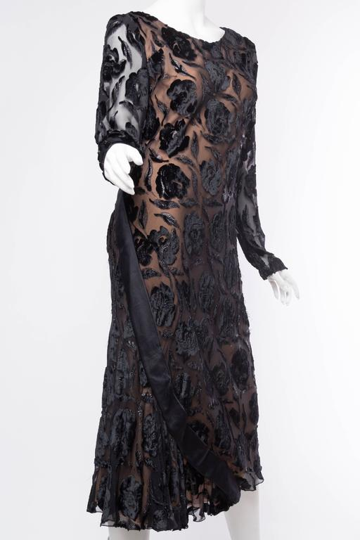 Late 1970s Stavropoulos Velvet and Lurex Burnout Dress In Excellent Condition For Sale In New York, NY