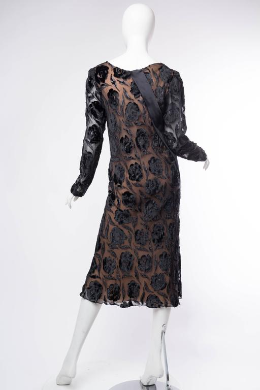 Late 1970s Stavropoulos Velvet and Lurex Burnout Dress For Sale 1