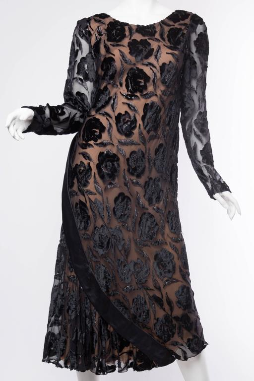 Black Late 1970s Stavropoulos Velvet and Lurex Burnout Dress For Sale