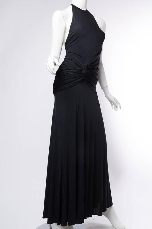 Women's 1990s Donna Karan Jersey Backless Gown For Sale