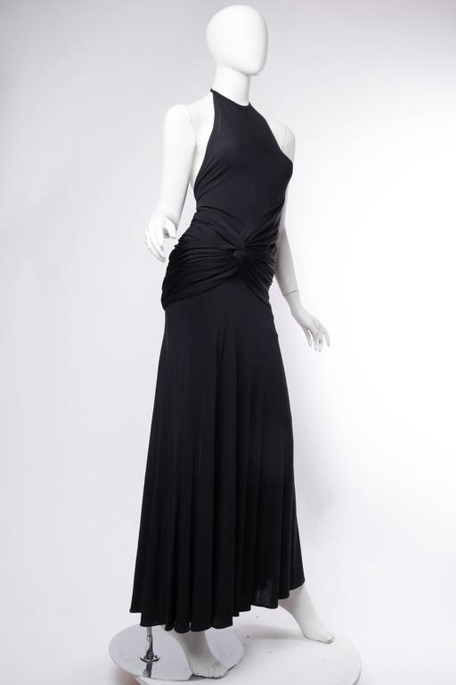 1990s Donna Karan Jersey Backless Gown In Excellent Condition For Sale In New York, NY