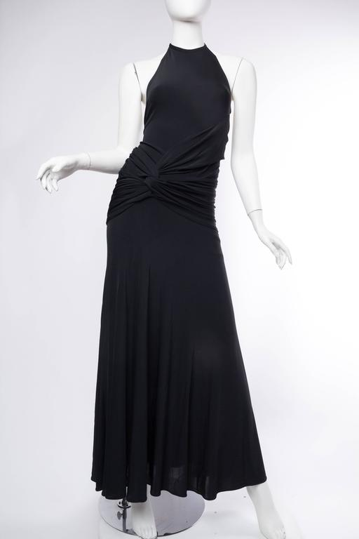 Black 1990s Donna Karan Jersey Backless Gown For Sale