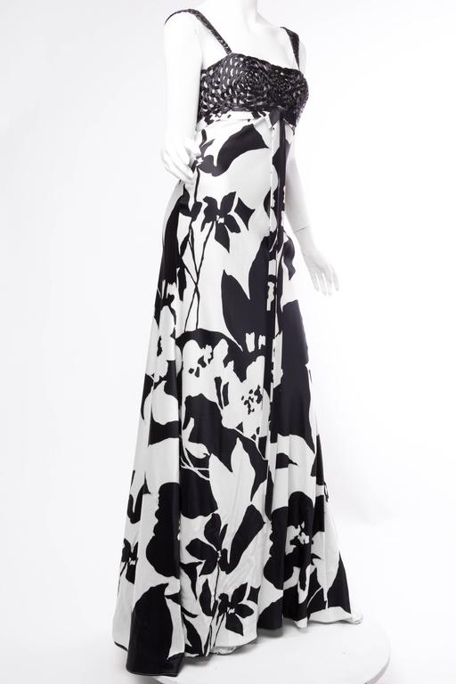 Women's Floral Bias Cut Naeem Khan Beaded Gown  For Sale