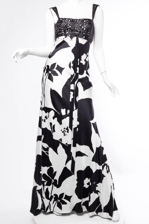 Black Floral Bias Cut Naeem Khan Beaded Gown  For Sale