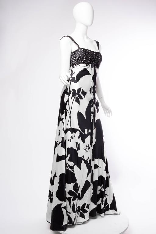 Floral Bias Cut Naeem Khan Beaded Gown  In Excellent Condition For Sale In New York, NY