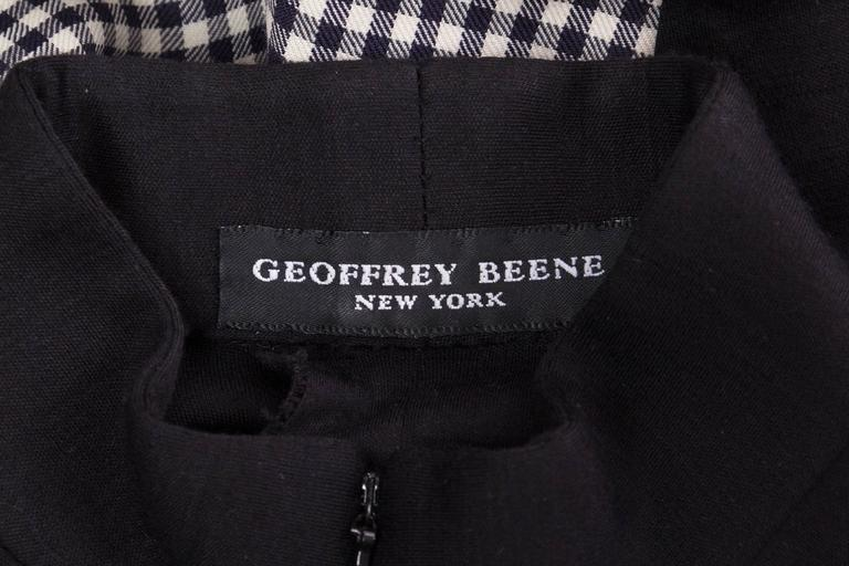 Geoffrey Beene Black Wool and Gingham Minimalist Dress 10