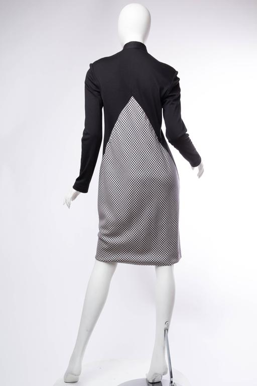 Geoffrey Beene Black Wool and Gingham Minimalist Dress 7