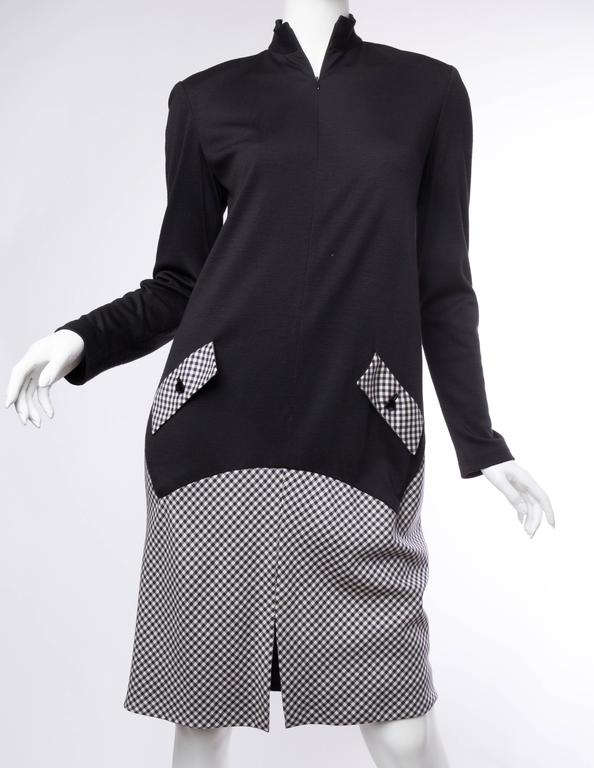 Geoffrey Beene Black Wool and Gingham Minimalist Dress In Excellent Condition For Sale In New York, NY