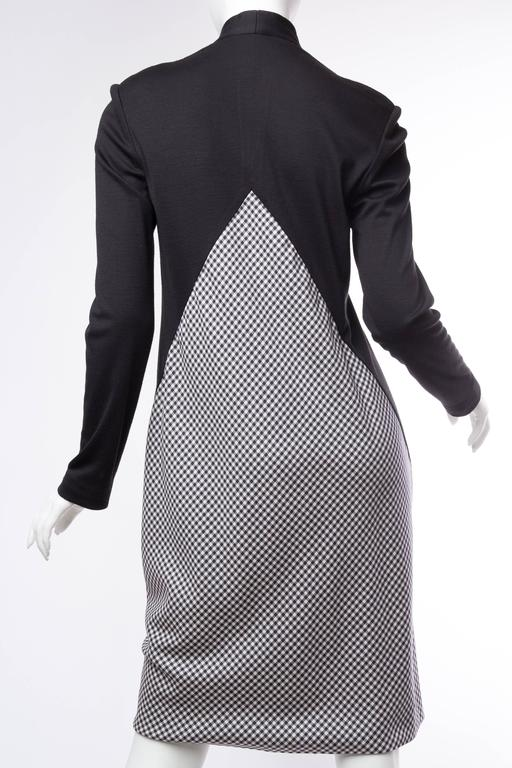 Geoffrey Beene Black Wool and Gingham Minimalist Dress 8