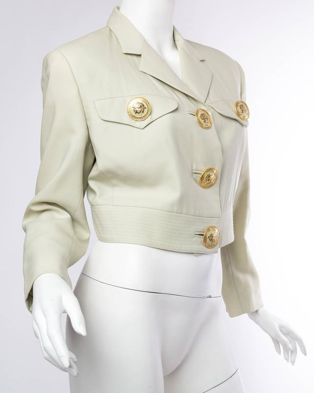 Gianni Versace Couture Pastel Medusa Button Jacket In Excellent Condition For Sale In New York, NY