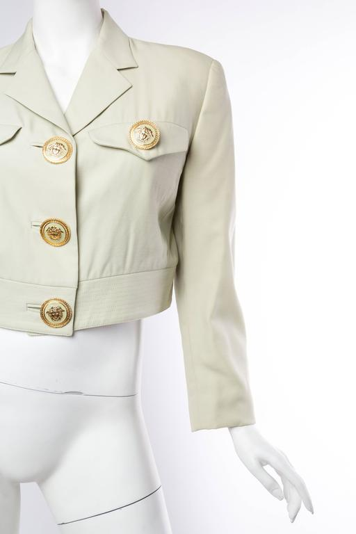 Beige Gianni Versace Couture Pastel Medusa Button Jacket For Sale