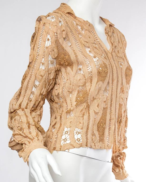 Antique Handmade Lace Blouse In Excellent Condition For Sale In New York, NY