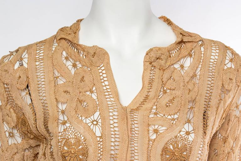 Antique Handmade Lace Blouse For Sale 2