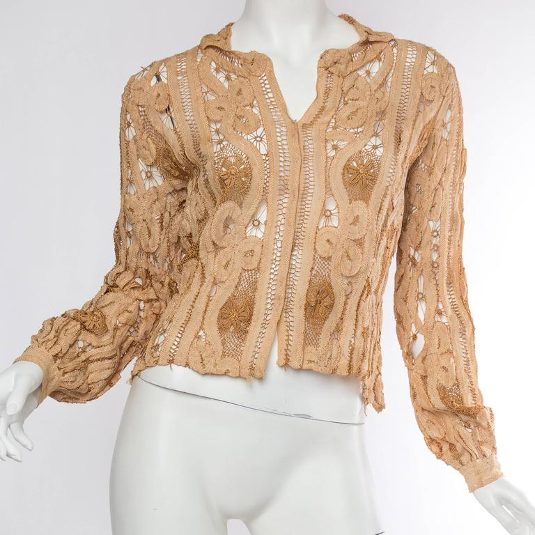 Beige Antique Handmade Lace Blouse For Sale