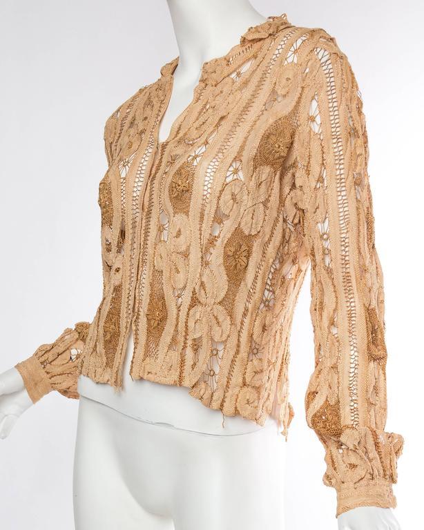 Women's Antique Handmade Lace Blouse For Sale