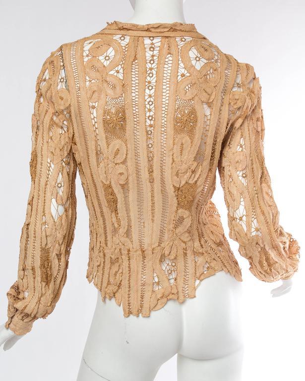 Antique Handmade Lace Blouse For Sale 1