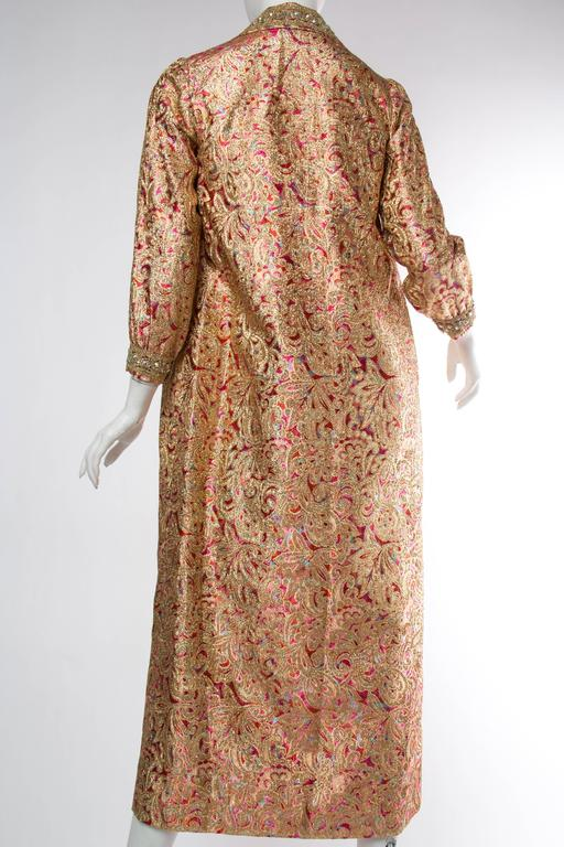 Brown Late 1960s Gold Paisley Dress For Sale