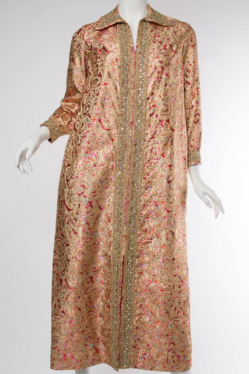 Late 1960s Gold Paisley Dress Beaded with crystals.