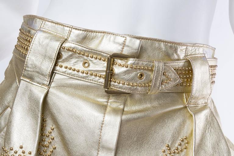 Jean Claude Jitrois Studded Gold Leather Shorts 4