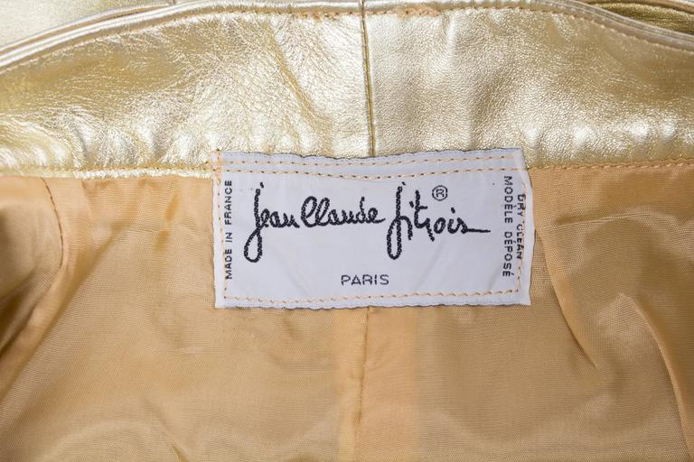Jean Claude Jitrois Studded Gold Leather Shorts 9