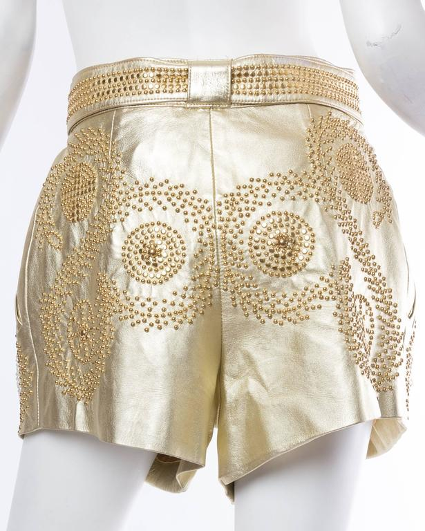 Jean Claude Jitrois Studded Gold Leather Shorts 3