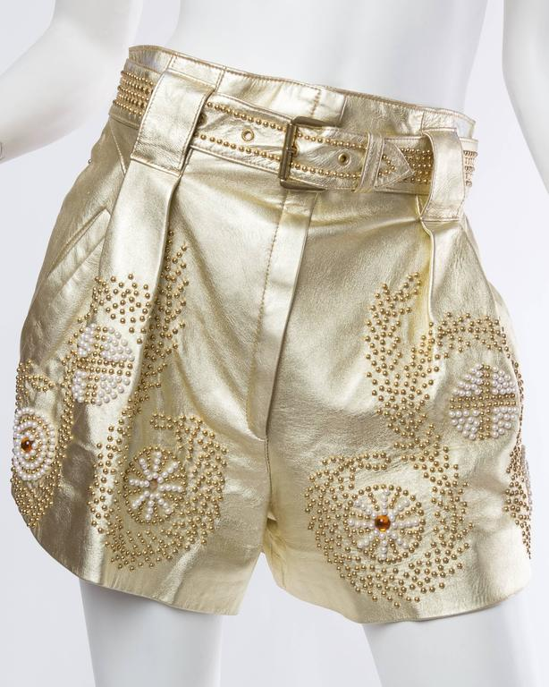 Jean Claude Jitrois Studded Gold Leather Shorts 2
