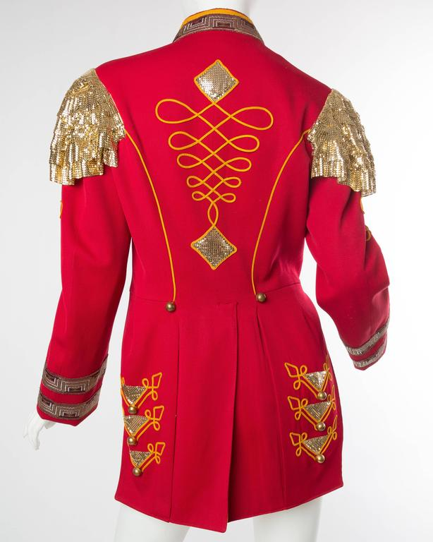 Women's or Men's Vintage Military Band Jacket with Metal Mesh Details For Sale