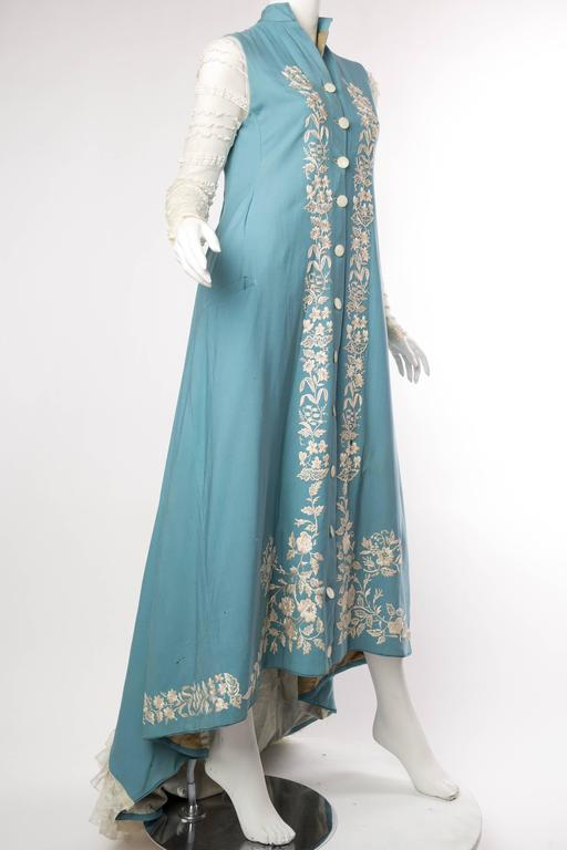 Amazing Victorian Embroidered Wool Dress With Lace Train