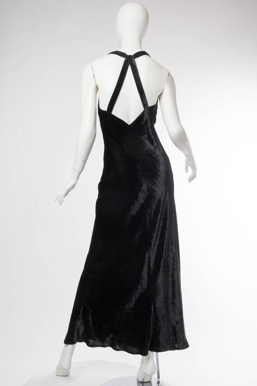 1990s Donna Karan Bias Cut Silk Velvet Gown In Excellent Condition For Sale In New York, NY