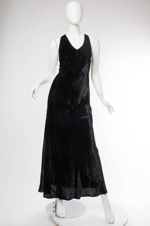 1990s Donna Karan Silk Velvet Gown