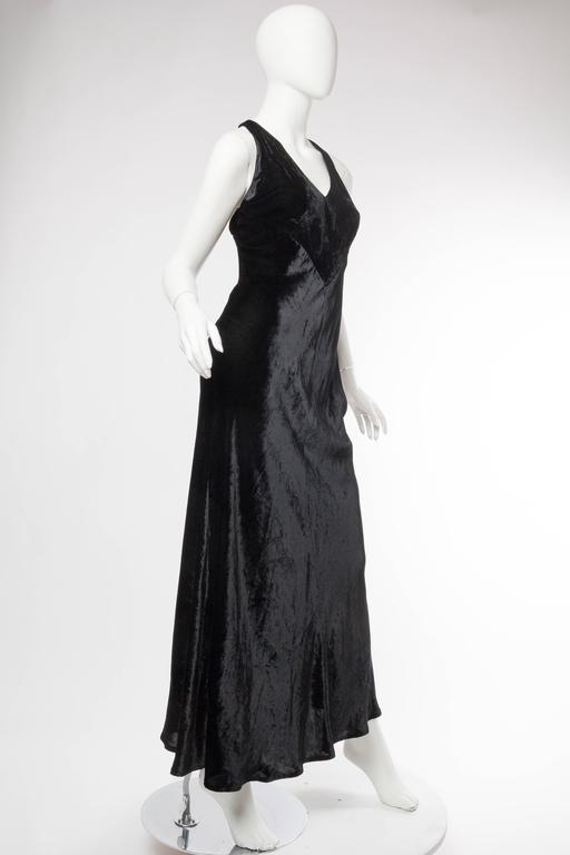 Black 1990s Donna Karan Bias Cut Silk Velvet Gown For Sale