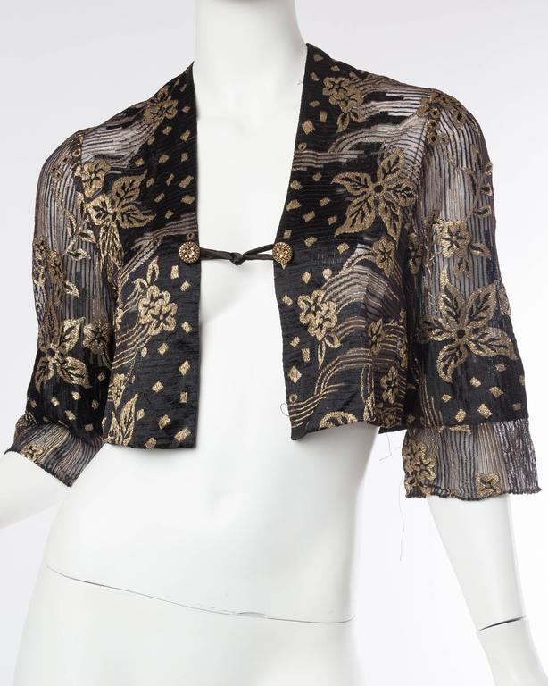 1920s Art Deco Lamé Lace Dress & Jacket 3