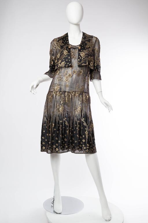 1920s Art Deco Lamé Lace Dress & Jacket 2