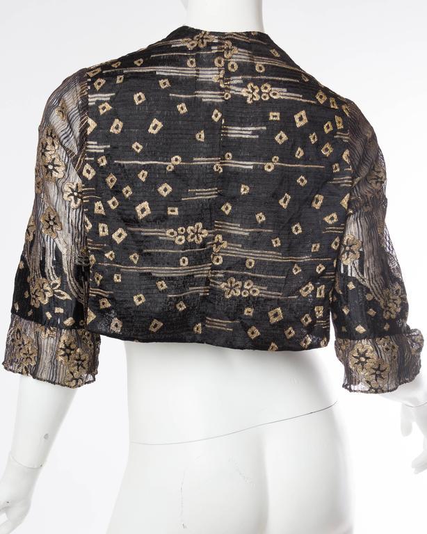 1920s Art Deco Lamé Lace Dress & Jacket 5