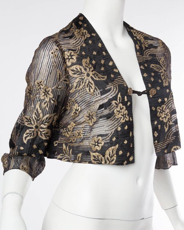 1920s Art Deco Lamé Lace Dress & Jacket 4