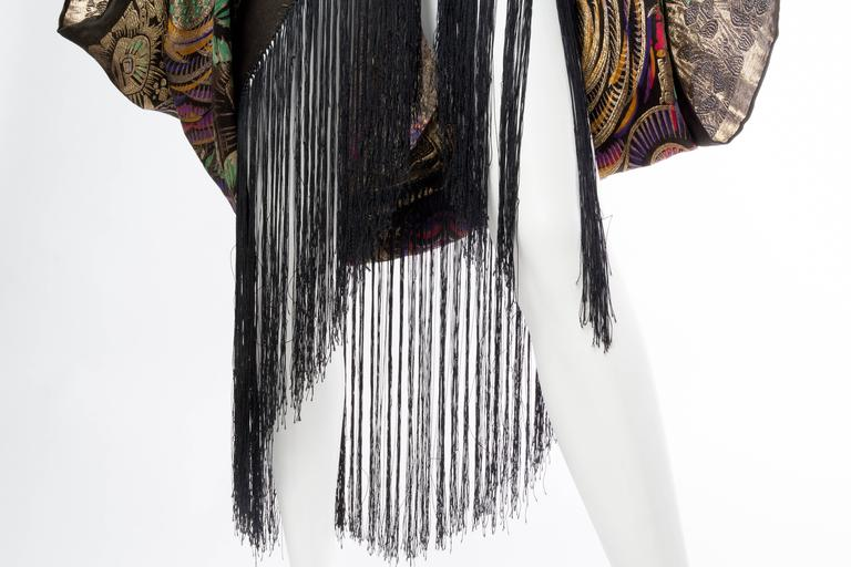 Phenomenal 1920s Lamé Cocoon Coat with Fringe 9