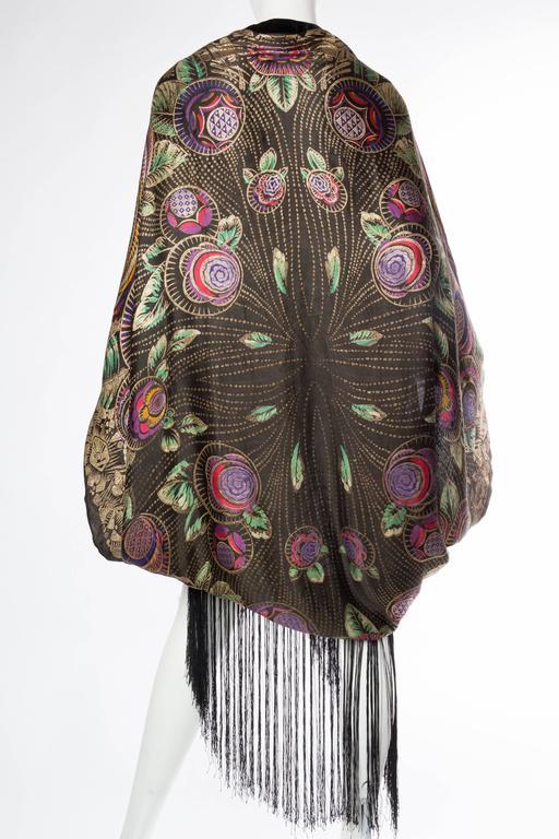 Phenomenal 1920s Lamé Cocoon Coat with Fringe 5