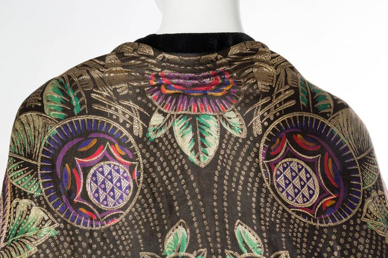 Phenomenal 1920s Lamé Cocoon Coat with Fringe 8
