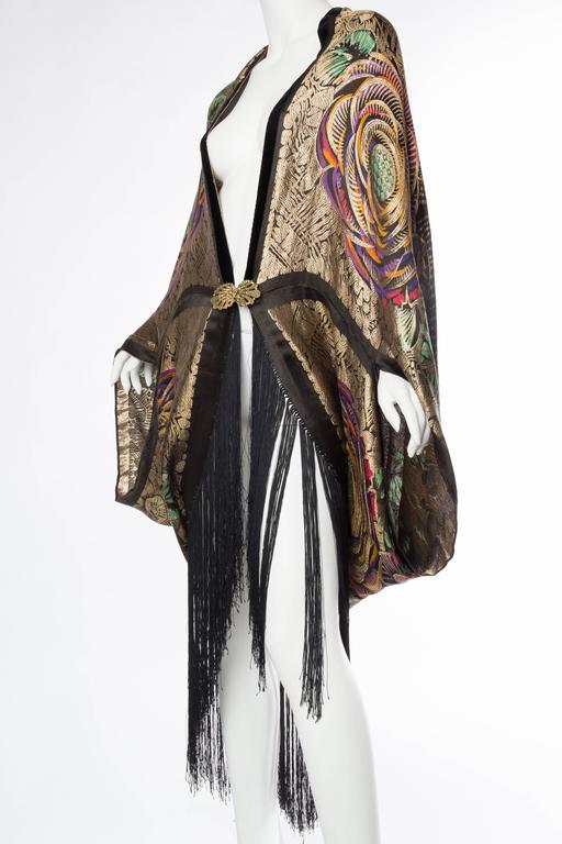 Phenomenal 1920s Lamé Cocoon Coat with Fringe 4