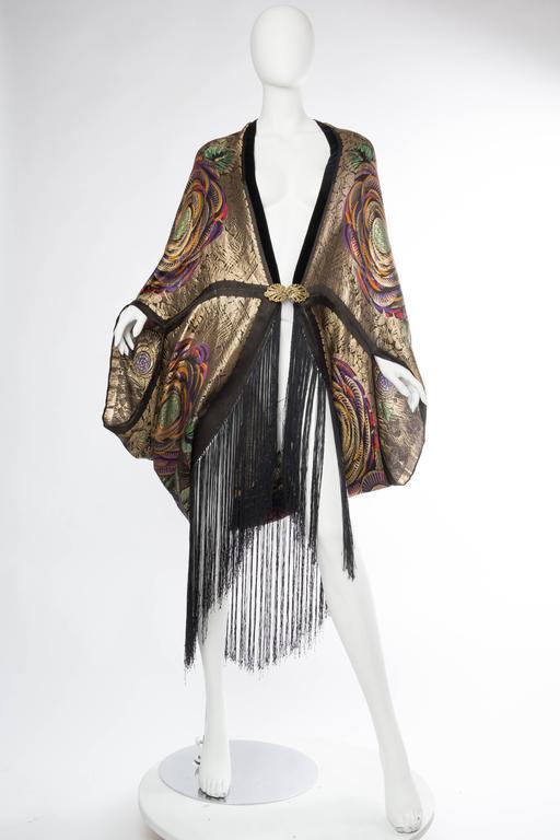 Phenomenal 1920s Lamé Cocoon Coat with Fringe 2