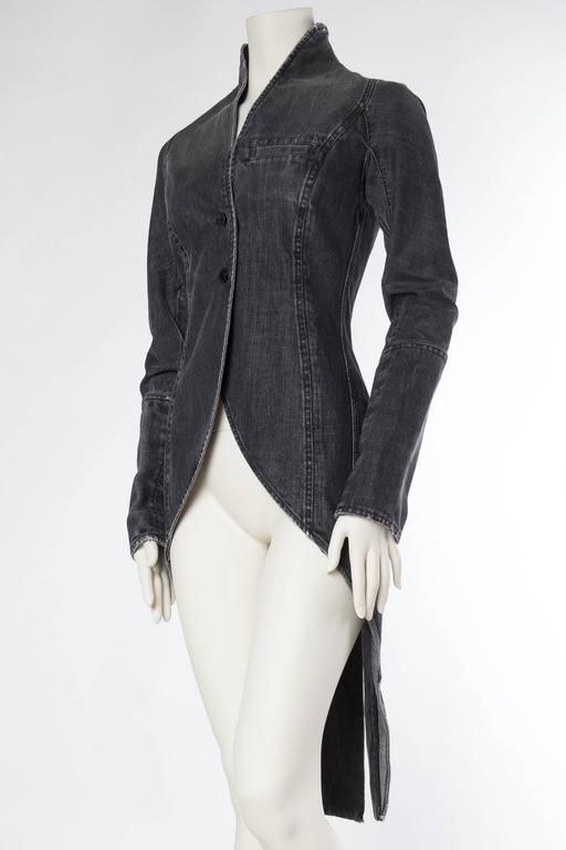 Women's Victorian Style Givenchy Distressed Denim Frock Coat For Sale
