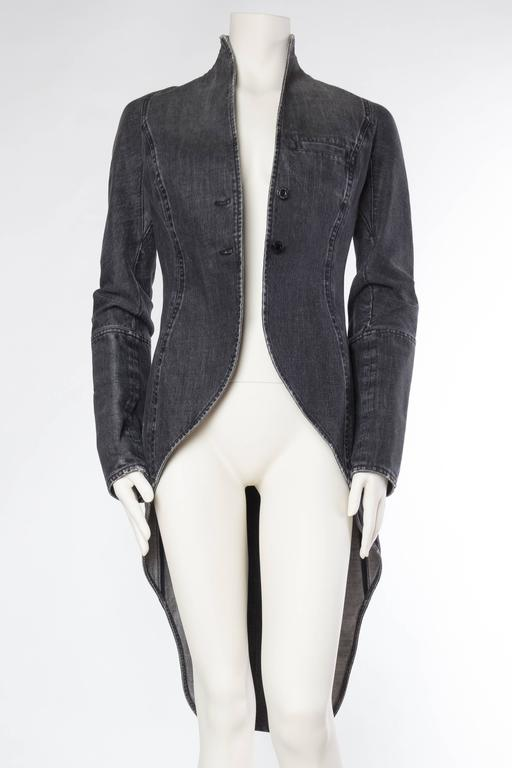 Black Victorian Style Givenchy Distressed Denim Frock Coat For Sale