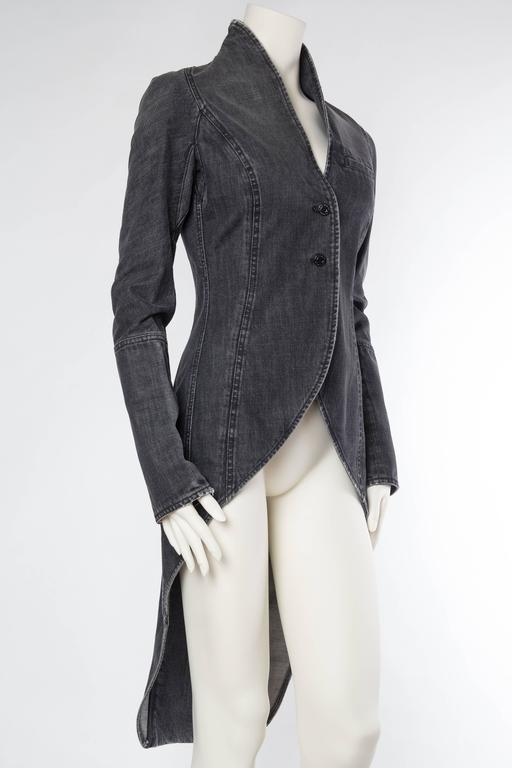 Victorian Style Givenchy Distressed Denim Frock Coat In Excellent Condition For Sale In New York, NY