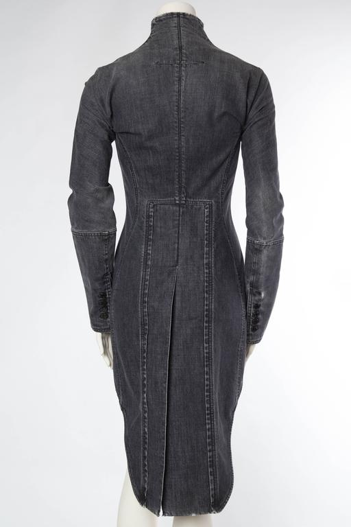 Victorian Style Givenchy Distressed Denim Frock Coat For Sale 1
