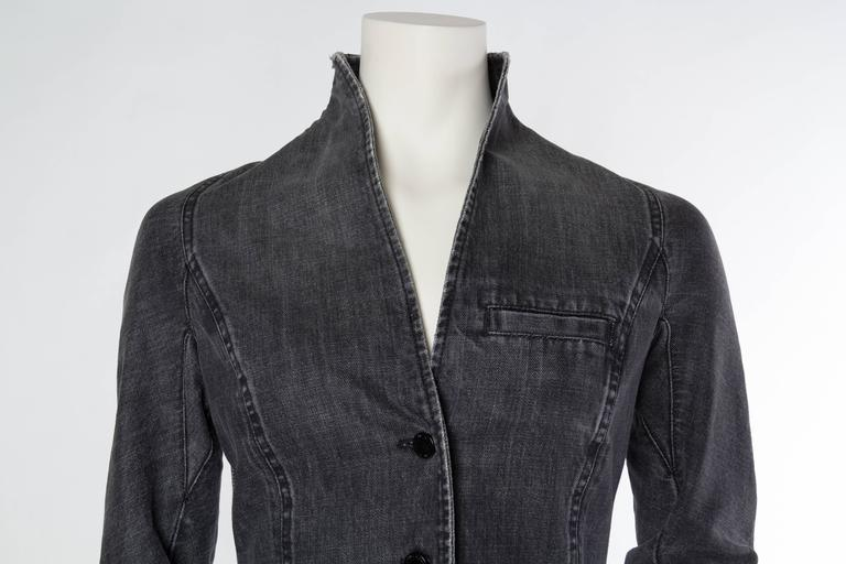 Victorian Style Givenchy Distressed Denim Frock Coat For Sale 2